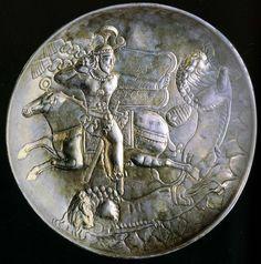 2001 500 Coupe d'argent de Sari de style sassanide figurant le roi a la chasse