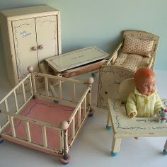 Baby Doll with Matching Set of Furniture - Crib, Wardrobe, Bathinette, Playpen and Dolly Tender Seat Dollhouse Dolls, Miniature Dolls, Dollhouse Miniatures, Doll Furniture, Dollhouse Furniture, Doll Beds, Old Dolls, Little Doll, Antique Toys