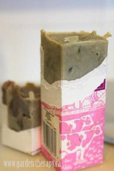 handmade soap...i like the idea of using milk cartons to make it perfectly square