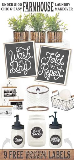 Chic Easy Farmhouse Laundry Makeover for Less Than $100 Lettered Lined Style Decor Hanger Hangers DIY Clothespins Clothespin Mason Jars Jar Dispenser Labels Soap Lost Socks Chicken Wire Pendant Basket Container Planter Pot Plant Wash Dry Fold Repeat Art Print Sign Signs Style Ideas Inspiration