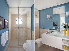 O banheiro segue o mesmo estilo do resto do espaço, com tons leves e descontraídos (Foto: Divulgação)