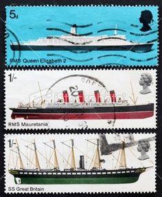 British postage stamps -- 5d RMS Queen Elizabeth 2, 1/- RMS Mauretania, 1/- SS Great Britain.