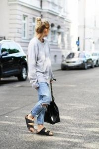 Simple Outfit. #pullover #birkenstock #denim