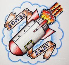 Drop Bombs by ~ingeniousdolt on deviantART H Tattoo, Tatto Designs, Bart Simpson, Banner, Drop, Deviantart, Fictional Characters, Banner Stands, Banners