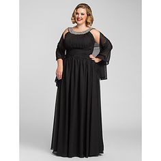 TS Couture Formal Evening / Prom / Military Ball Dress - Black Plus Sizes / Petite A-line Jewel Floor-length Chiffon Evening Dresses Online, Chiffon Evening Dresses, Cheap Evening Dresses, Cheap Prom Dresses, Ball Dresses, Chiffon Dress, Evening Gowns, Formal Dresses, Prom Gowns