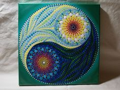 Yin Yang Dot Mandala Painting *Earth/Air/Water/Fire* 10 inch by 10 inch Stretched Canvas Painting. Ready to hang, signed on the side to leave you different hanging options. This painting actually looks great hung diagonal for a diamond effect. Painted in a dot mandala style starting with a small black and white circle, radiating out in a blend of colors to represent Earth, Air, Water and Fire. This yin yang dot painting is unique and one of a kind. Painted with acrylic paints and a…