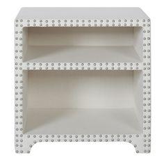 Jennifer Taylor Jason Nailhead Trim Upholstered Side Table