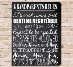 Grandparent's Rules Canvas Print Grandchild Canvas Print