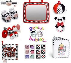 Infant Stimulation Toys- Gift Bundle $64.95  Gift Bundle includes the following 9 infant development toys & stimulation tools: Baby Wrist Rattle Foot Rattles - infant stimulation toy First Caterpillar Teething Pal Baby's My First ABC Cloth Book Baby Crib Mirror Black, White & Red Infant Stimulation Flashcards Baby's First Jingle Ball Plush Panda Baby Rattle Baby's My First Photo Album Age appropriate for infants, birth and up.