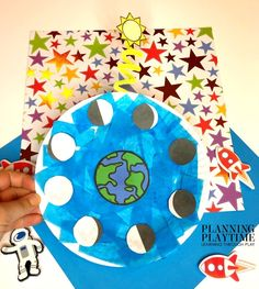 Space Theme Preschool - Planning Playtime - Lisa Peterson Riggs - Space Everything Space Theme Preschool, Preschool Learning Activities, Preschool Worksheets, Classroom Activities, Preschool Crafts, Preschool Activities, Work Activities, Name Crafts, Moon Crafts