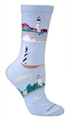 Lighthouses Blue Cotton Ladies Socks