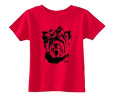 This baby t-shirt features unique Yorkshire Terrier dog print so your baby wears new t-shirt with the image of his favourite dog. LISTING INCLUDES: - Rabbit Skins t-shirt with Yorkie print  FEATURES: - Unisex Rabbit Skins 5.5 oz, 100% cotton jersey knit (Heather is a 90/10 cotton/polyester blend) baby t-shirt - 4 sizes available (3-6, 6-12, 12-18, 18-24 month) - different colors available - Shoulder-to-shoulder taping - Rib crewneck  HOW TO ORDER: 1) Choose t-shirt you like 2) Choos... Yorkshire Terrier Dog, Shoulder Taping, Baby Bodysuit, Baby Wearing, Black Print, Yorkie, Kids Shirts, New Baby Products, Kids Shop