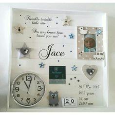 Geboortebord XL ☆ Troetel.com ☆ Diy Baby Gifts, Baby Crafts, Baby Shower Gifts, Ideas Scrapbook, Baby Scrapbook, Newborn Shadow Box, Baby Frame, Diy Bebe, Baby Presents
