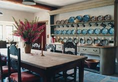 Lady Rothermere collaborated with antique dealer Edward Hurst on the design and decoration of Bee Cottage, the 17th-century-style Wiltshire house built for two of her children in their early twenties. Photos by Tim Beddow for The World of Interiors.