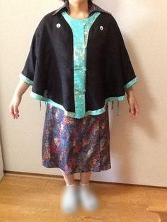 New released♪Wafu Colle☆Kimono Upcycling♡From black Ro(silk-gauze) kimono with sea green Komon(fine-pattern) Linzu bias ribbon to ⇒ cape♪[Product No.1705050000]¥10,000JPY  http://blog.kobecoffee.com/2017/05/170505000010000.html