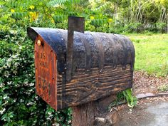 Jumbo size mailbox with cedar door. Metal forging for all of metal details. Special made dark natural rustic woodfinish. Everything made from new wood, metal, and natural beeswax based woodfinish