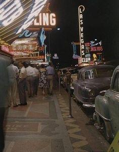 Vintage Las Vegas 1950 - old photo of Fremont Street, downtown