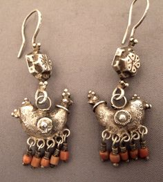 Uzbekistan   Old Silver and coral earrings   Sold