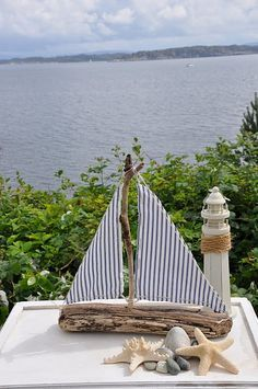 driftwood boat with striped sails ~ Cape Cod Design