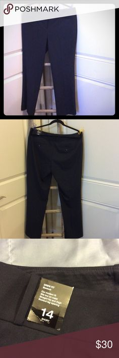 NWT The Limited Drew fit bootcut 14 short pants Brand-new pants from the limited. They are the true fit. This means they sit low on the waste straight through the hips and thigh and have a boot cut leg opening. These are a navy. The picture with the hanger and clips is to show the color better.  Flat waist measurement is 18 (36) inches and the inseam is 30 inches. The Limited Pants Trousers