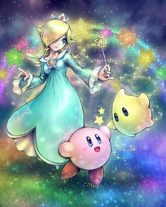 Beautiful fan art of Rosalina and Luma with kirby in space. I love how well blended the background is. It really does give a space feel, even though the characters are obviously standing on something. The outlines for Rosalina and Kirby and sharp and effective and give great detai.