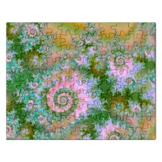 Rose Forest Green, Abstract Swirl Dance Jigsaw Puzzle (Rectangle)