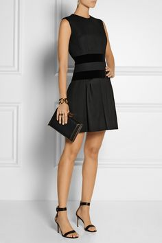 Alexander McQueen | Velvet-trimmed wool-blend dress | NET-A-PORTER.COM