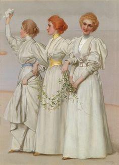 Vittorio Matteo Corcos (Italian, 1859–1933) Title:     Die drei Schwestern  Medium:     oil on canvas Size:     60 x 44 cm. (23.6 x 17.3 in.)
