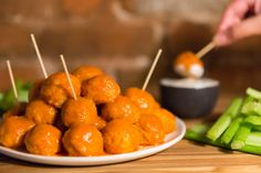 Buffalo chicken meatballs take all the work out of eating hot wings