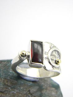 Garnet ring sterling silver rectancular stone by nikiforosnelly