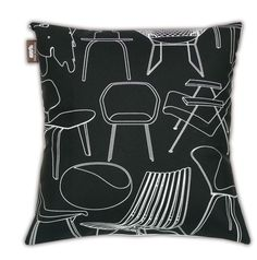 Cushion: A tribute for the modernist chair lover!  Screen printed onto 100% cotton canvas  Patterned back and front with zip opening  Sold with curled feather pad   Made in the UK by nice people.