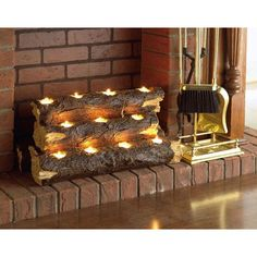 Add warmth to your room with this elegant tealight fireplace log. Handcrafted to resemble a stack of logs, the sculpture sets inside your fireplace and holds 11 tealight candles, which you an light to create a cozy, rustic atmosphere.