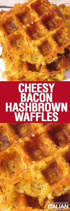 Cheesy Bacon Hash Bown Waffles are perfectly crisp on the outside and tender on the inside. A perfectly simple recipe, they are incredibly flavorful and loaded with bacon and ooey gooey cheese!