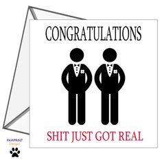 WEDDING CARD Funny Rude Congratulations Gay Couple LGBT Men Husbands Engagement Cards, Wedding Engagement, Funny Wedding Cards, Funny Rude, Fold Envelope, Get Real, Gay Couple, Lgbt, Congratulations