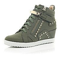 River Island Khaki studded wedge high top trainers (see more studded shoes) High Top Wedge Sneakers, Studded Sneakers, Sneakers Mode, Best Sneakers, Wedge Shoes, Wedge Pump, Women's Shoes, New Shoes, Cute Shoes