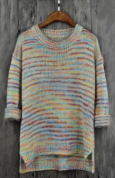 Women's Casual Multicolored Long Sleeve Knitted Pullover Sweater