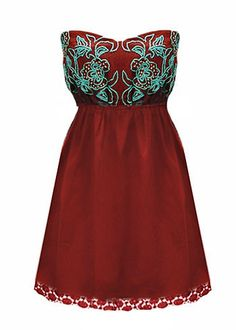 crimson dress with turquoise embroidery... would be super cute with reddish-brown & turquoise cowboy boots!