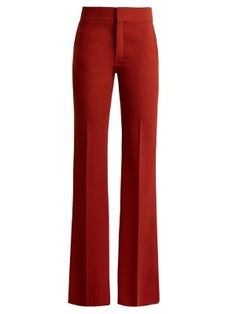 ChloÉ Mid-rise Flared Crepe Trousers In Terracotta-red Classy Outfits, Casual Outfits, Cute Outfits, Blazer Fashion, Fashion Outfits, Chloe, Red Trousers, Looks Plus Size, Look Cool