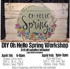 Repost from @diypaintworkshops using @RepostRegramApp - We have another workshop coming up in April! Join us for our DIY Oh Hello Spring Workshop on April 5th and April 14th @mezamiz_coffee_house  or at @rustandrosesabilenetx ! Space is limited so reserve your spot now  online! All skill levels welcome!! Learn to hand paint a beautiful modern font and arrangement of spring flowers! Say Hello to Spring with this beautiful wood pallet sign!! The cost of the workshop is $40  all supplies…