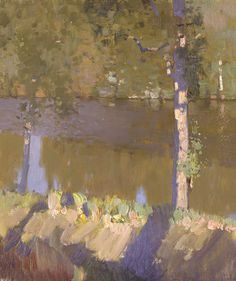 'Forest lake' by Bato Dugarzhapov. I am moved by Bato's work! A master of brushwork, color and composition!