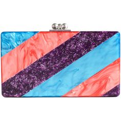 Edie Parker Multicolor Acrylic Clutch ($895) ❤ liked on Polyvore featuring bags, handbags, clutches, borse, purses, acrylic clutches, multi color handbag, multi colored purses, colorful handbags and purple purse