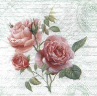 Салфетка для декупажа, 4733 розы на фоне бледно-серо-зеленого письма