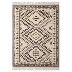 Wool Kilim Neutral Area Rug With Normal Fringe : Target