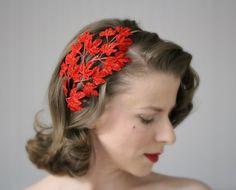 Red Velvet Fascinator Holiday Leaf Headband by ChatterBlossom