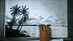 Realistic Island Drawing With Pencil, Charcoal - Guam