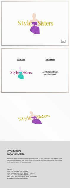 Style Sisters Fashion Logo Template Introducing our Style Sisters Fashion logo template, perfect for use in your next project or for your own brand identity. All our logo design template... https://creativemarket.com/MeeraG/562972-Style-Sisters-Fashion-Logo-Template