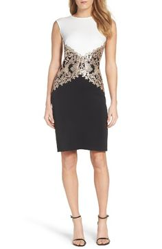 Free shipping and returns on Tadashi Sequin Knit Sheath Dress at Nordstrom.com. Sequined brocade glamorously narrows the waistline of this classically chic black-and-white sheath.