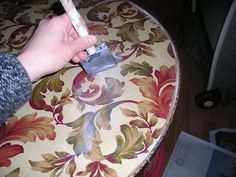How to fix a ruined table top!!!!How decoupage with fabric and seal with polyurethane