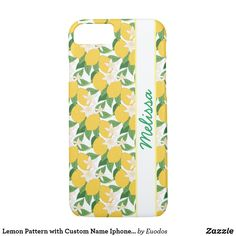 Lemon Pattern with Custom Name Iphone Case