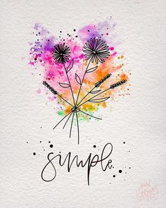 Watercolor And Ink, Watercolor Flowers, Simple Watercolor Paintings, Happy Paintings, Painting Inspiration, Painting & Drawing, Doodle Drawing, Painting Canvas, Flower Art